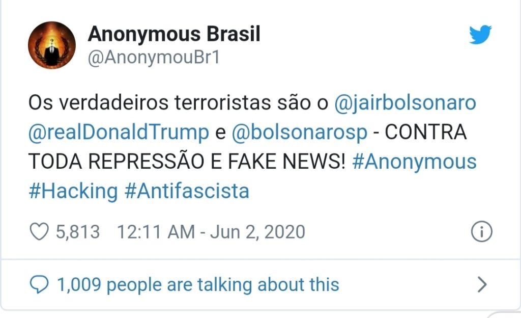 Anonymous Brasil vaza dados de família Bolsonaro e membros do governo.
